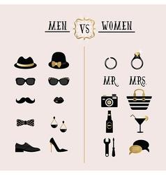 Hipster Men Vs Women accessories design icons set vector image vector image