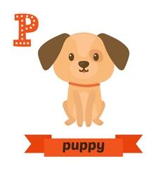Puppy P letter Cute children animal alphabet in vector image
