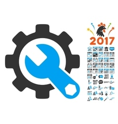 Service Tools Icon With 2017 Year Bonus Pictograms vector image