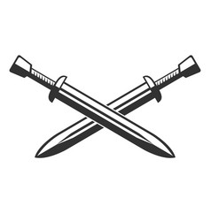 two crossed swords isolated on white background vector image