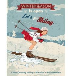 Vintage pin up girl skiing poster vector image