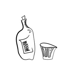 Whiskey bottle and glass stylized vector