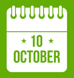 10 october calendar icon green vector image