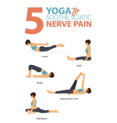 5 yoga poses for soosciatic pain concept vector