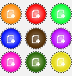 Add File document icon sign A set of nine vector image
