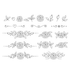 Art hand drawn set of rose flower icons vector