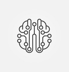 Artificial intelligence brain outline icon vector