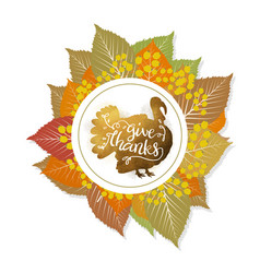 Autumn ring with foliage and turkey on the white vector