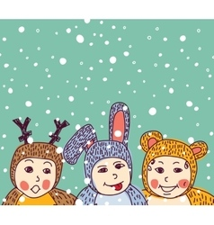 Baby animals costume winter and snow vector