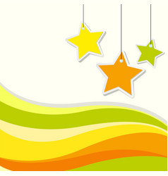 Background design with stars and yellow wavy lines vector