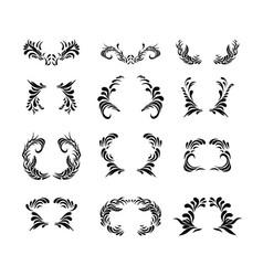 black floral ornament elements vector image