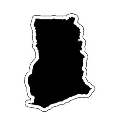 black silhouette of the country ghana with the vector image