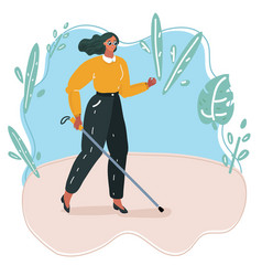blind person walking with stick vector image