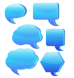 blue speech bubble set vector image