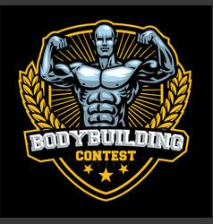 Bodybuilding contest badge vector