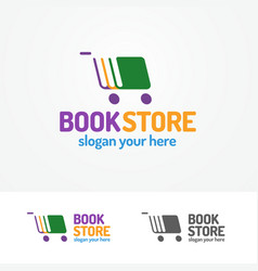 Book store logo set consisting of books and cart vector