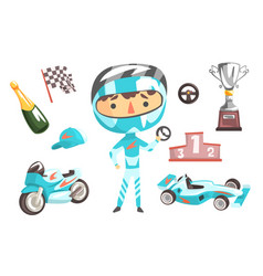 Boy speed racer kids future dream professional vector