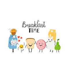 brealfast time characters bread milk and food vector image