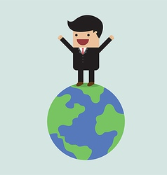 Businessman on the world vector image