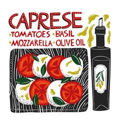 caprese recipe design cookbook illlustrations vector image