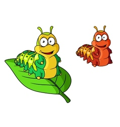 Cartoon cute caterpillar character vector