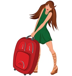 Cartoon young woman green dress and red suitcase vector image
