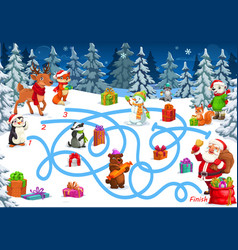 Christmas game or puzzle with maze labyrinth map vector