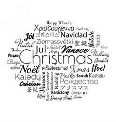 Christmas in different foreign languages vector