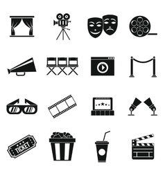 Cinema icons set simple style vector image