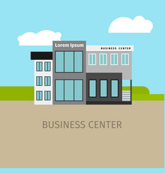 Colored business center building vector