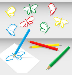 Colored pencils and flying butterflies vector