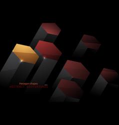 Colors hexagon shape scene in dark vector