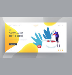 cooking process website landing page tiny male vector image