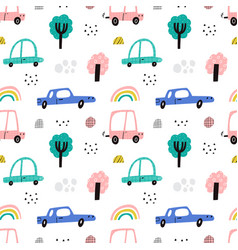 cute kids cars seamless pattern fun vector image