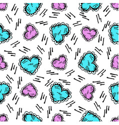 doodle heart pattern scattered lines in bright vector image