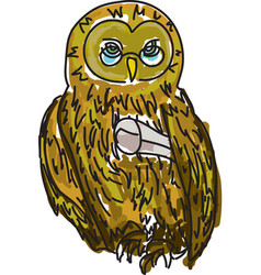Drawn owl with diploma vector
