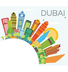 Dubai Skyline with Color Buildings vector