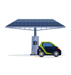 electric car charging on electrical charge station vector image