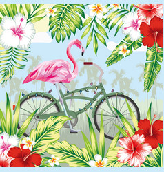 Flamingo on bicycle in jungle vector