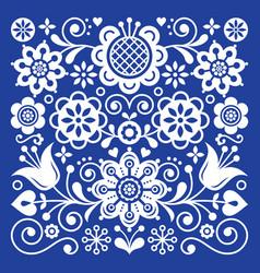 Folk art retro pattern scandinavian floral vector