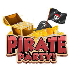 Font design for word pirate party with flag and vector