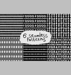 Geometric monochrome seamless pattern set vector