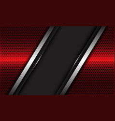 Grey blank banner silver line overlap on red vector
