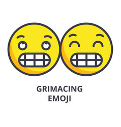 grimacing emoji line icon sign vector image