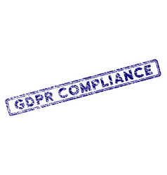 Grunge textured gdpr compliance rectangle stamp vector