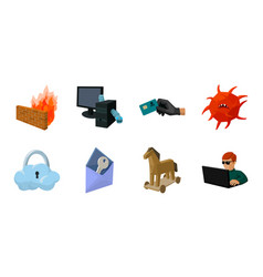 hacker and hacking icons in set collection for vector image