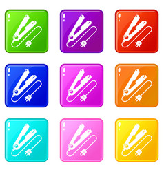 Hair straightener icons set 9 color collection vector