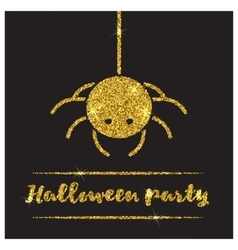 Halloween gold textured spider icon vector image