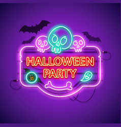 halloween party neon sign with skulls vector image