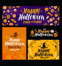 Halloween trick or treat banner holiday symbol vector